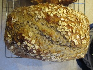 Oatmeal bread, fresh out of the oven