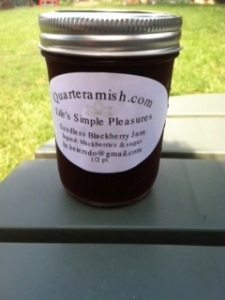 Quarter Amish Seedless Blackberry Jam.  Ingredients: Blackberries and Sugar